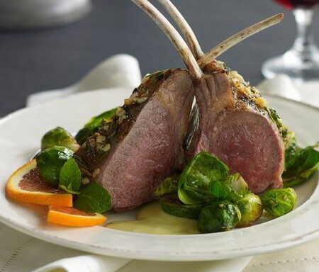 American Rack of Lamb with Brussel Sprouts