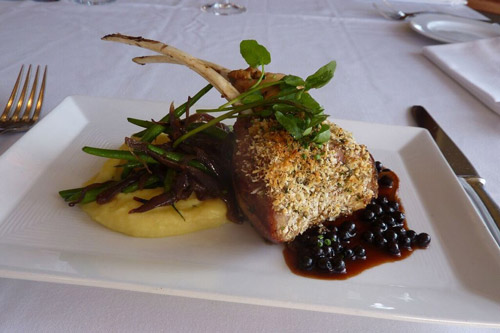 Herb Crusted Rack of American Lamb with Huckleberry