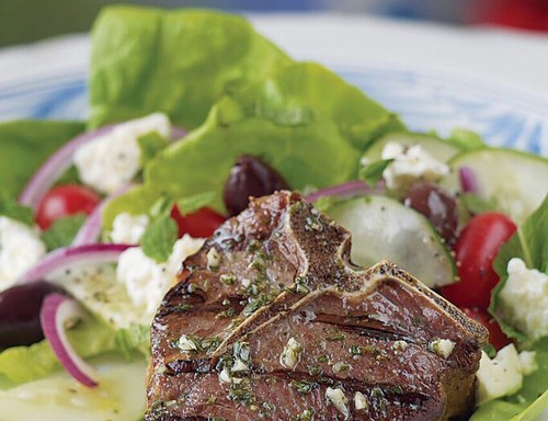 Herbed Greek Loin Chops with Feta Salad