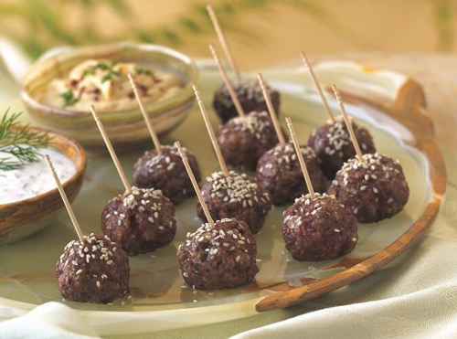 Lamb Meatballs with Mediterranean Dips