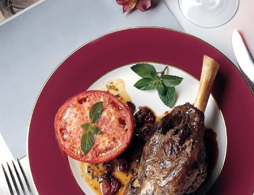 Lamb Shanks with Garlic Tomato and Mint