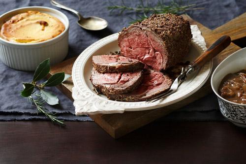 Roasted Leg of Lamb with Yukon Potato Soufle